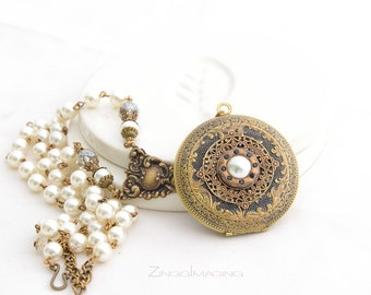 Victorian Pearl Locket Necklace, Antique Brass Photo Locket Necklace with Vintage Faux Pearls, Pearl Locket Necklace, Vintage Style Locket