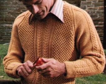Arran Adult's Pullover Pattern Knitting PDF / Women's Sizes 12 14 16 Men's Sizes 38 40 42 / fisherman knit sweater / aran knitted sweater