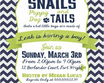 Frogs, Snails and Puppy Dog Tails Little Boy Baby Shower Invitation- lime, navy chevron