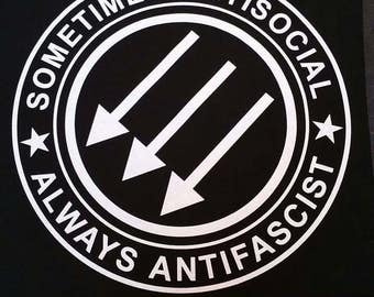 Sometimes Antisocial Always Antifascist BACKPATCH punk rock oi skinhead heavy metal antifa acab