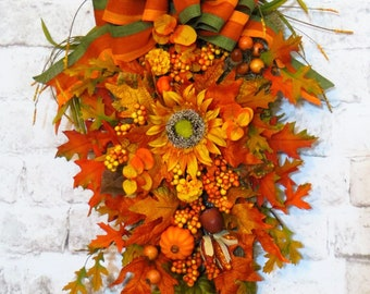 Fall Swag, Fall Swag for Front Door, Teardrop Swag, Teardrop Swag Wreath, Fall Decor, Thanksgiving Swag, Fall Swag Wreath