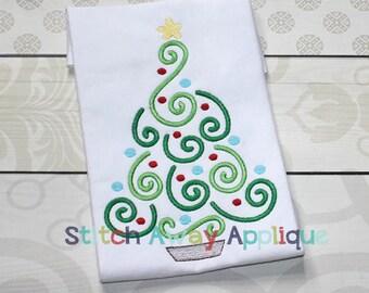 Swirly Christmas Tree Machine Applique Design