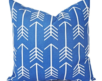 Two Blue Pillow Covers - Decorative Throw Pillow - Arrow Pillow - Royal Blue Pillow Covers - Cobalt Pillows - 12x16 14x14 16x16 18x18 20x20