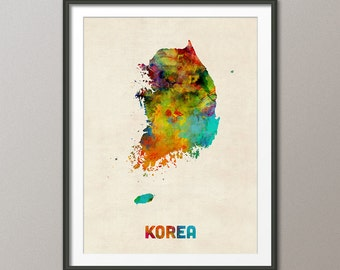 Korea Watercolor Map, Art Print (1314)