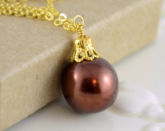 Chocolate Brown Necklace, Christmas Ornament Jewelry, Gold Plated, Glass Pearl, Wire Wrapped