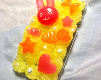 Pink, Yellow, and Orange Bunny Decoden iPhone 7 Case
