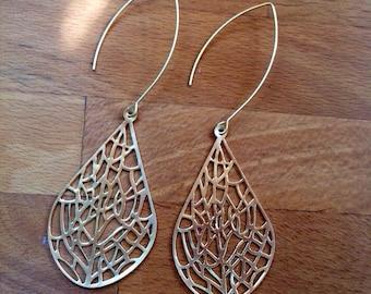 Large matte gold filigree teardrop earrings