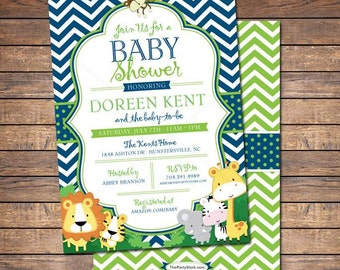 Safari Baby Shower Invitation, Jungle Safari Baby Shower Themed Printable Invitation, Safari Baby Shower Invites, Navy Blue Green Chevron