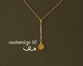 Gold Initial Y Necklace -  Y Necklace - 100% Gold Filled or Sterling Silver