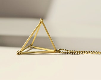 brass triangle necklace, geometric necklace, 3d jewelry, minimalist geometric jewelry
