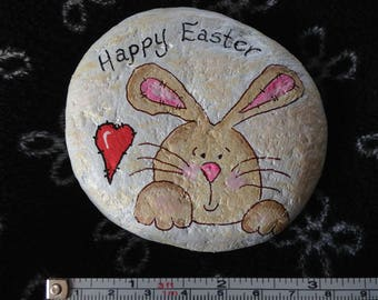 Happy Easter Bunny Hand Painted River Rock