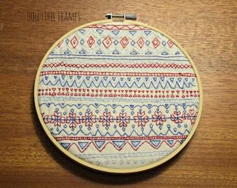 Scandinavian Sweater Print Embroidery Art, Geometric Embroidery, Hoop Art, Hand-Stitched Embroidery, 6 inch Hoop