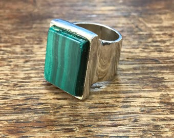 Chunky Green Malachite Sterling Silver Ring