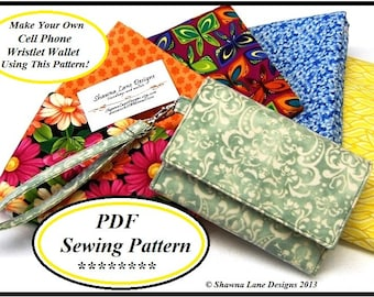 wallet sewing pattern, PDF sewing purse pattern, cell phone wallet pattern, womens wallet sewing pattern, digital pattern, sewing tutorial