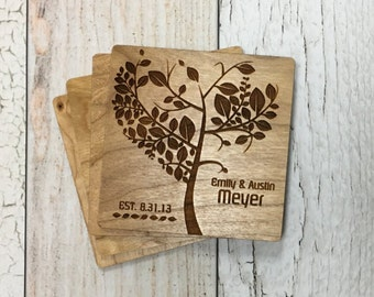 Tree Coasters | Personalized Wood Coasters | Drink Coasters | Housewarming | Best Friend | Personalized Gifts | Anniversary Gift | Wedding