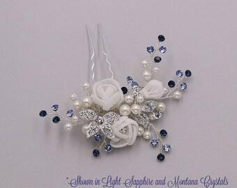 WEDDING HAIR PIN, bridal hair accessories, pearl flower rhinestone hairpin, bridal hair pearl, bridal hairpins, Hadassah Hair Pin