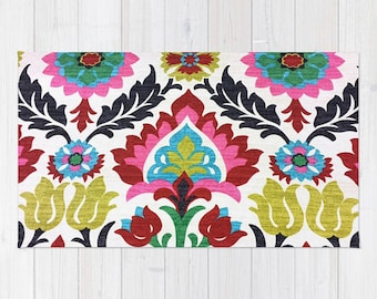 Damask area rug 2x3 rug colorful pattern floral rug Living room 3x5 rug 4x6 area rug throw rug bedroom rug dorm room rug dining room rug