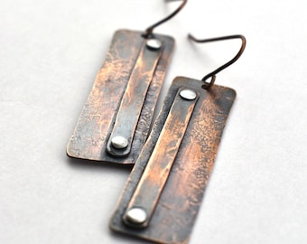 Riveted, recycled, rectangle copper earrings