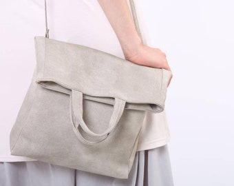 Crossbody Bag, Fold Over Purse, Top Handle Handbag, Vegan Leather Bag, Slouchy Bag, White Bag, Summer Bag, Gift For Mom