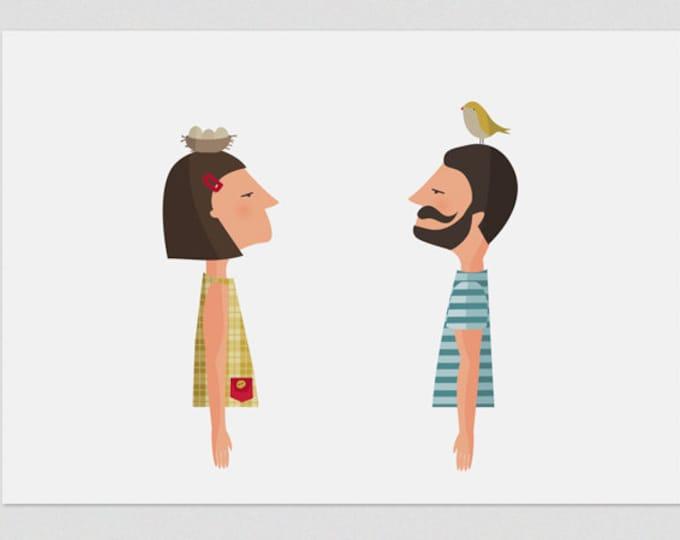 """Ilustración """"Pájaros en mi cabeza """"."""