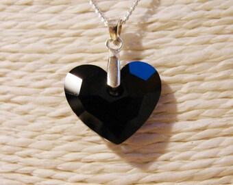 Necklace: Swarovski Crystal and Silver 925 pendant - Swarovski heart Truly in Love 6264 Jet