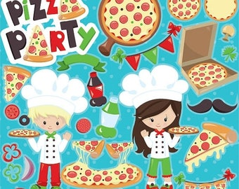 80% OFF SALE Pizza clipart commercial use, Pizza party clipart vector graphics, digital clip art, pizza digital images - CL950
