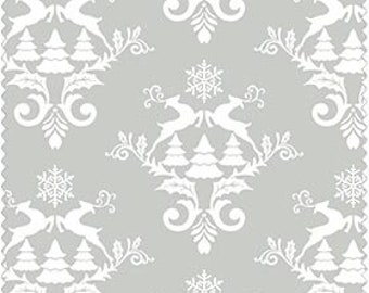 Christmas Fabric, Gray With White Reindeer, Christmas Tree Fabric, Winter Material-Quilting, Clothing, Crafts - Cotton Yardage, By The Yard