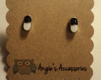 Pharmacist pill capsule stud earrings