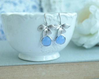 Orchid Flower Earrings Matte Silver Rhodium Erinite Blue Glass Jewel Dangle Aqua SeaFoam Glass Stones Bridesmaids Gift Short Dangle For Her