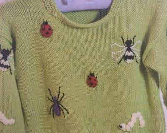 Children's Creepy Crawly Jumper Knitting Pattern