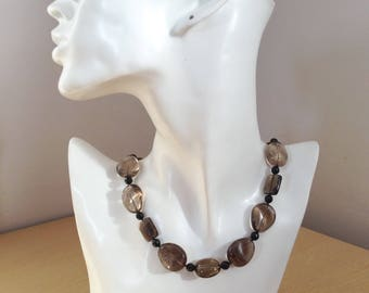 Silver Necklace Smoky Quartz & Black Onyx Hand Knotted Statement Stone Necklace