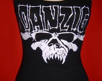 DANZIG diy halter top  tank top rock metal skull and logo shirt  xs s m l xl