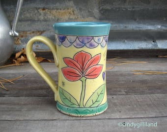 Pottery Mug with Flowers and Hearts - Coffee Mug in Yellow and Turquoise - Colorful Mug - by DirtKicker Pottery