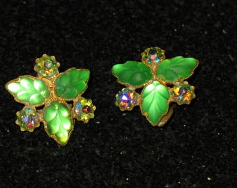Gold Wash Green Fruit Salad and AB Rhinestone Clip On Earrings