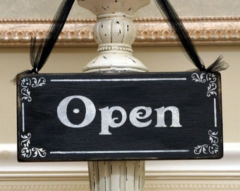 OPEN CLOSED  two sided business sign shabby vintage inspired