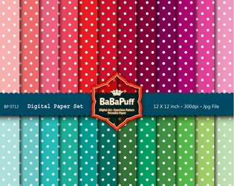 Instant Downloads, 24 Polka Dots Digital Papers Clip Art. For Your Handmade Crafts Projects. Personal and Small Commercial Use. BP 0712