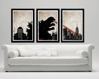 "Godzilla Movie Poster Set, 12""x18"" Vintage Look"