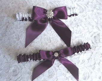 Eggplant Bows Wedding Garter Set, Purple and White Bridal Garter Set, Bows and Bling wedding garter set
