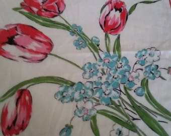 Vintage Ladies White Handkerchief with Pink Tulips