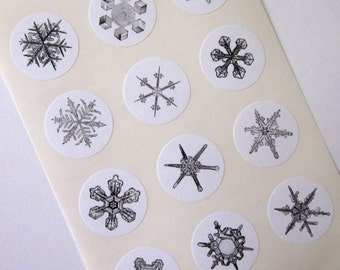 Snowflake Stickers One Inch Round Seals