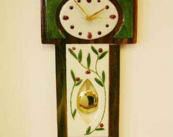 Fused Glass Wall Clock with Faux Pendulum and Relief Elements