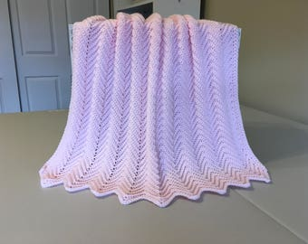 Crocheted Ripple Baby Afghan - Pink