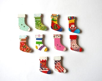 Wooden Buttons Christmas Candy Stocking - 10 pcs