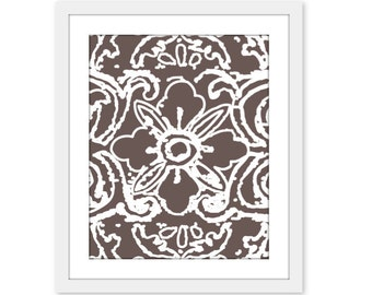 Modern Abstract Flower Print Wall Art Spring Brown Taupe French Roast- Tibetan Flower - Lace