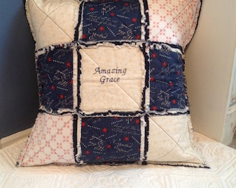 Quilted Pillow Cover, Throw Pillow, Amazing Grace, Americana Pillow, Quilted Pillow, Patriotic Decor, Pillow With Saying, Embroidered Pillow