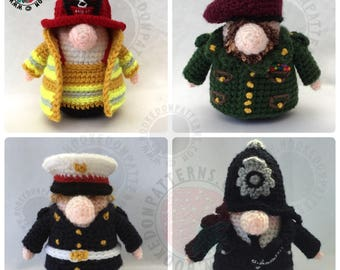 Crochet Pattern Outfits for Gonk Heroes - Fireman - Policeman - Officer - Soldier - Marine - Sailor - Navy - Army