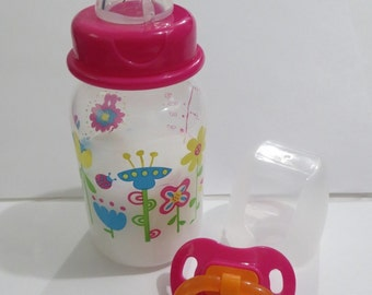 Reborn Doll  Bottle 5oz Fake Milk Pink Lid with Flower Design.  Girl.  Use Drop Down Menu.  Optional Pacifier.   Ages 8 Yrs +OOAK
