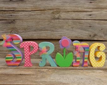 Spring Decor, Chunky Letters, Spring Letter set