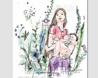 "Poster ""Natural breastfeeding"" / Illustration / Mother, baby, nature, plants / Baby bedroom, decoration / 5 x 7 or 8 x 10"