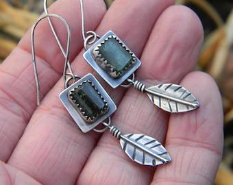 Leafy Green Tourmaline Earrings - Oxidized Sterling Silver - Dangle Earrings